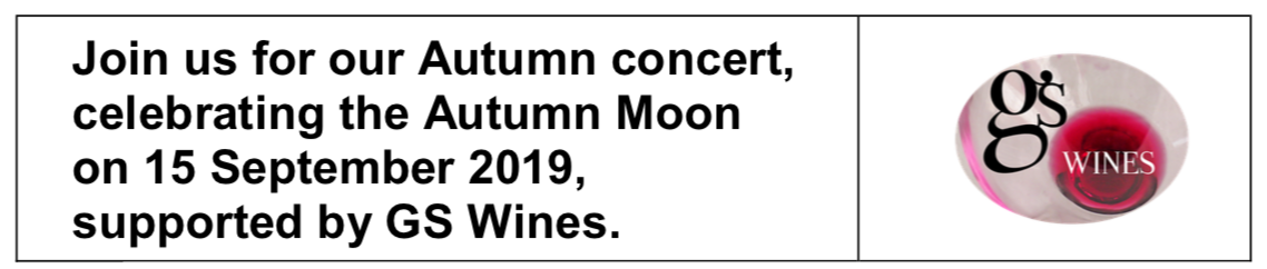 Join us for our Autumn concert, celebrating the Autumn Moon on 15 September 2019, supported by GS Wines.